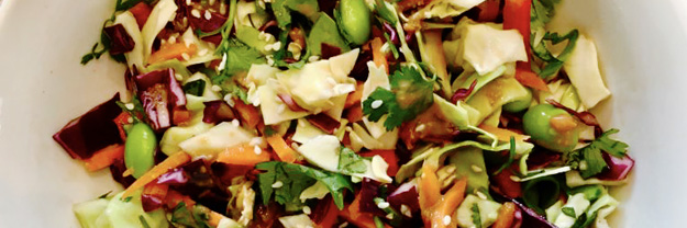 Summer Asian Slaw with Ginger Peanut Dressing
